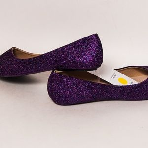 af80f5aa36fa Princess Pumps Shoes - Razzle Purple Glitter Ballet Flats Slippers Shoes